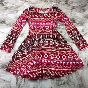 Children's Place Red Pattern Holiday Dress Girl 5T